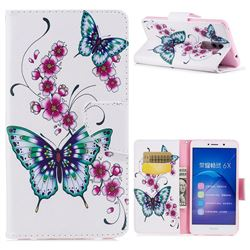 Peach Butterflies Leather Wallet Case for Huawei Honor 6X Mate9 Lite