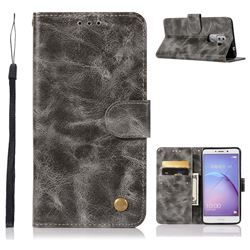 Luxury Retro Leather Wallet Case for Huawei Honor 6X Mate9 Lite - Gray