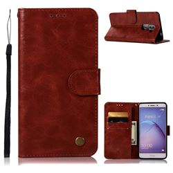 Luxury Retro Leather Wallet Case for Huawei Honor 6X Mate9 Lite - Wine Red