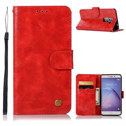 Luxury Retro Leather Wallet Case for Huawei Honor 6X Mate9 Lite - Red