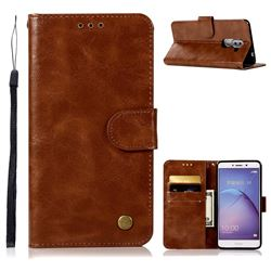 Luxury Retro Leather Wallet Case for Huawei Honor 6X Mate9 Lite - Brown