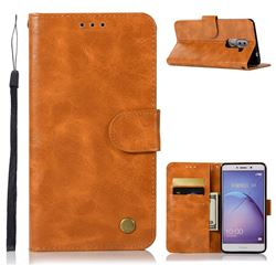 Luxury Retro Leather Wallet Case for Huawei Honor 6X Mate9 Lite - Golden