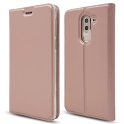 Ultra Slim Card Magnetic Automatic Suction Leather Wallet Case for Huawei Honor 6X Mate9 Lite - Rose Gold