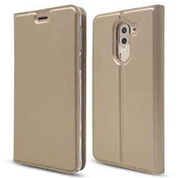 Ultra Slim Card Magnetic Automatic Suction Leather Wallet Case for Huawei Honor 6X Mate9 Lite - Champagne