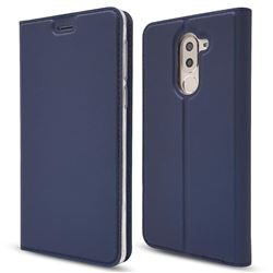 Ultra Slim Card Magnetic Automatic Suction Leather Wallet Case for Huawei Honor 6X Mate9 Lite - Royal Blue