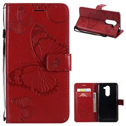Embossing 3D Butterfly Leather Wallet Case for Huawei Honor 6X Mate9 Lite - Red