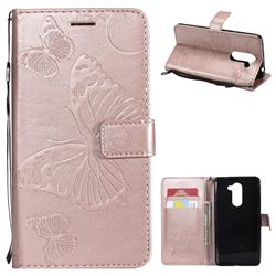 Embossing 3D Butterfly Leather Wallet Case for Huawei Honor 6X Mate9 Lite - Rose Gold