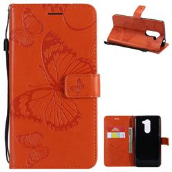 Embossing 3D Butterfly Leather Wallet Case for Huawei Honor 6X Mate9 Lite - Orange