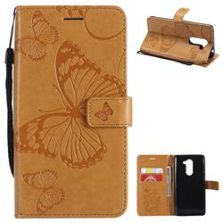Embossing 3D Butterfly Leather Wallet Case for Huawei Honor 6X Mate9 Lite - Yellow