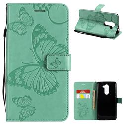 Embossing 3D Butterfly Leather Wallet Case for Huawei Honor 6X Mate9 Lite - Green
