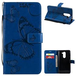 Embossing 3D Butterfly Leather Wallet Case for Huawei Honor 6X Mate9 Lite - Blue