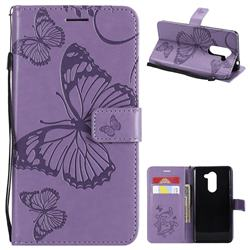 Embossing 3D Butterfly Leather Wallet Case for Huawei Honor 6X Mate9 Lite - Purple