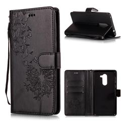 Intricate Embossing Dandelion Butterfly Leather Wallet Case for Huawei Honor 6X Mate9 Lite - Black