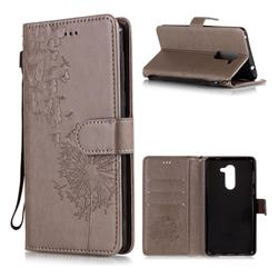 Intricate Embossing Dandelion Butterfly Leather Wallet Case for Huawei Honor 6X Mate9 Lite - Gray
