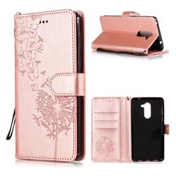 Intricate Embossing Dandelion Butterfly Leather Wallet Case for Huawei Honor 6X Mate9 Lite - Rose Gold
