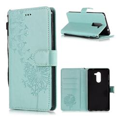 Intricate Embossing Dandelion Butterfly Leather Wallet Case for Huawei Honor 6X Mate9 Lite - Green