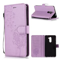 Intricate Embossing Dandelion Butterfly Leather Wallet Case for Huawei Honor 6X Mate9 Lite - Purple