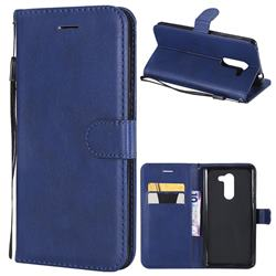 Retro Greek Classic Smooth PU Leather Wallet Phone Case for Huawei Honor 6X Mate9 Lite - Blue