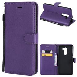 Retro Greek Classic Smooth PU Leather Wallet Phone Case for Huawei Honor 6X Mate9 Lite - Purple