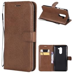 Retro Greek Classic Smooth PU Leather Wallet Phone Case for Huawei Honor 6X Mate9 Lite - Brown