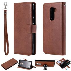 Retro Greek Detachable Magnetic PU Leather Wallet Phone Case for Huawei Honor 6X Mate9 Lite - Brown