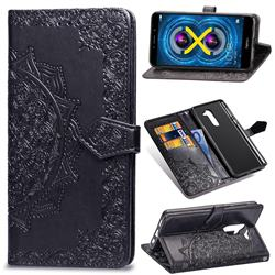Embossing Imprint Mandala Flower Leather Wallet Case for Huawei Honor 6X Mate9 Lite - Black