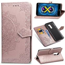 Embossing Imprint Mandala Flower Leather Wallet Case for Huawei Honor 6X Mate9 Lite - Rose Gold