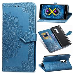 Embossing Imprint Mandala Flower Leather Wallet Case for Huawei Honor 6X Mate9 Lite - Blue