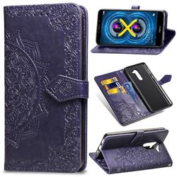 Embossing Imprint Mandala Flower Leather Wallet Case for Huawei Honor 6X Mate9 Lite - Purple