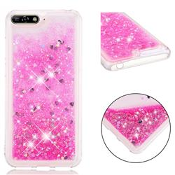 Dynamic Liquid Glitter Quicksand Sequins TPU Phone Case for Huawei Honor 7A Pro - Rose