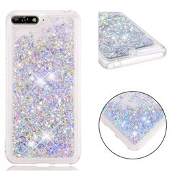 Dynamic Liquid Glitter Quicksand Sequins TPU Phone Case for Huawei Honor 7A Pro - Silver