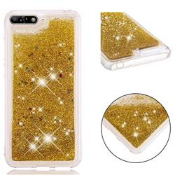 Dynamic Liquid Glitter Quicksand Sequins TPU Phone Case for Huawei Honor 7A Pro - Golden