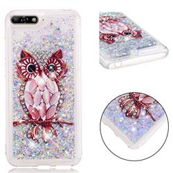 Seashell Owl Dynamic Liquid Glitter Quicksand Soft TPU Case for Huawei Honor 7A Pro