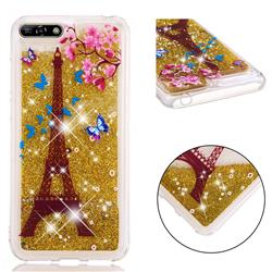 Golden Tower Dynamic Liquid Glitter Quicksand Soft TPU Case for Huawei Honor 7A Pro