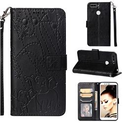 Embossing Fireworks Elephant Leather Wallet Case for Huawei Honor 7A Pro - Black