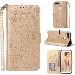 Embossing Fireworks Elephant Leather Wallet Case for Huawei Honor 7A Pro - Golden