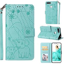 Embossing Fireworks Elephant Leather Wallet Case for Huawei Honor 7A Pro - Green