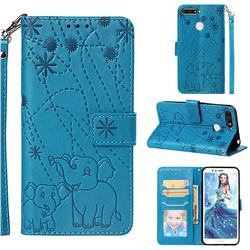 Embossing Fireworks Elephant Leather Wallet Case for Huawei Honor 7A Pro - Blue
