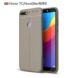 Luxury Auto Focus Litchi Texture Silicone TPU Back Cover for Huawei Honor 7C - Gray