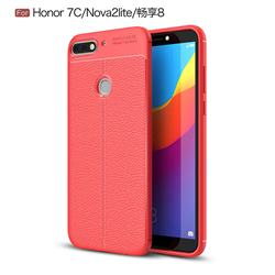 Luxury Auto Focus Litchi Texture Silicone TPU Back Cover for Huawei Honor 7C - Red