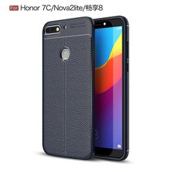 Luxury Auto Focus Litchi Texture Silicone TPU Back Cover for Huawei Honor 7C - Dark Blue