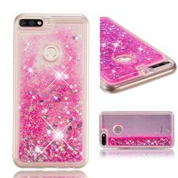 Dynamic Liquid Glitter Quicksand Sequins TPU Phone Case for Huawei Honor 7C - Rose