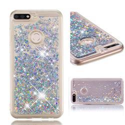 Dynamic Liquid Glitter Quicksand Sequins TPU Phone Case for Huawei Honor 7C - Silver