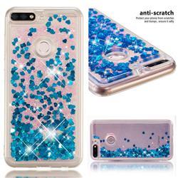 Dynamic Liquid Glitter Quicksand Sequins TPU Phone Case for Huawei Honor 7C - Blue