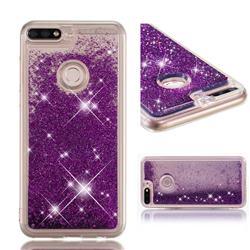 Dynamic Liquid Glitter Quicksand Sequins TPU Phone Case for Huawei Honor 7C - Purple