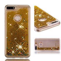 Dynamic Liquid Glitter Quicksand Sequins TPU Phone Case for Huawei Honor 7C - Golden