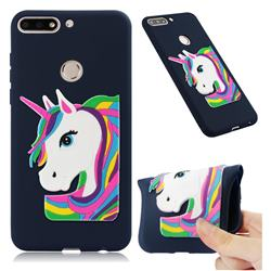 Rainbow Unicorn Soft 3D Silicone Case for Huawei Honor 7C - Navy