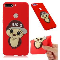 Bad Boy Owl Soft 3D Silicone Case for Huawei Honor 7C - Red