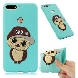 Bad Boy Owl Soft 3D Silicone Case for Huawei Honor 7C - Sky Blue