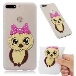 Bowknot Girl Owl Soft 3D Silicone Case for Huawei Honor 7C - Translucent White